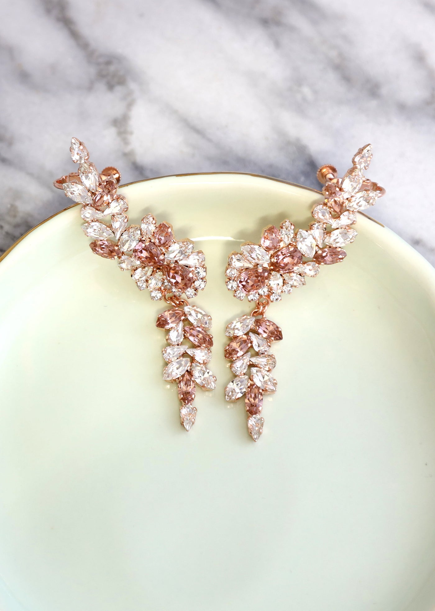 Kate Blush Crystal Swarovski Climber Earrings