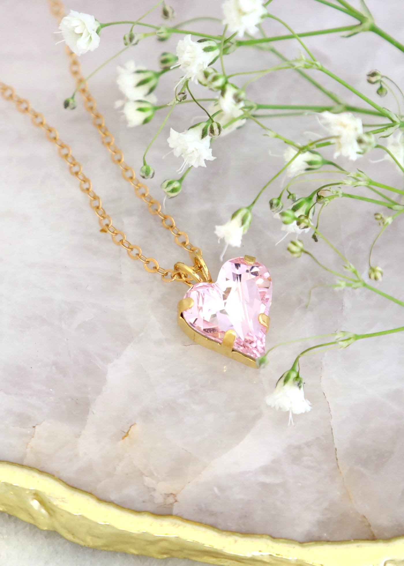 Light Pink Heart Crystal Swarovski Necklace