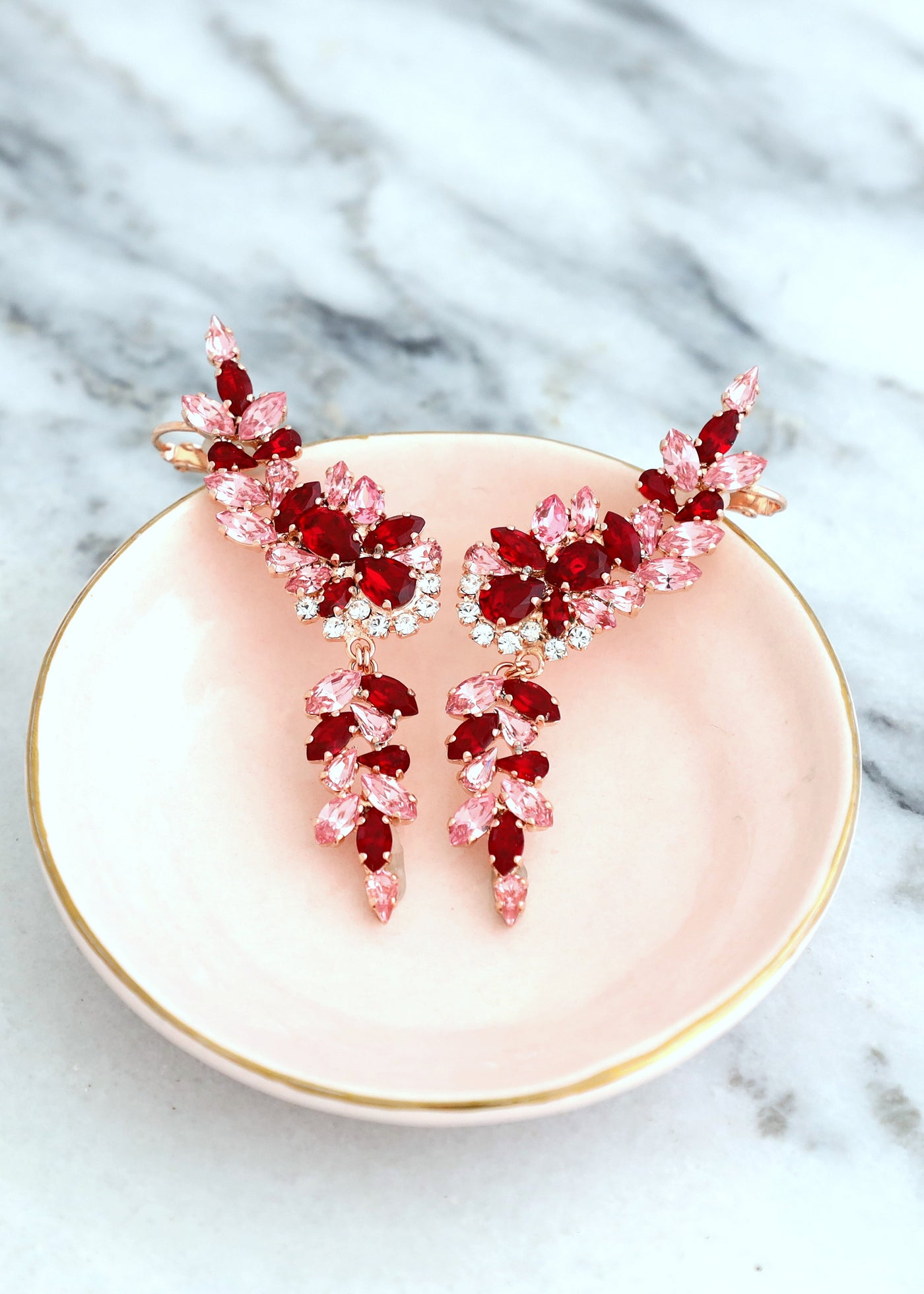 Kate Red Pink Crystal Swarovski Climber Earrings