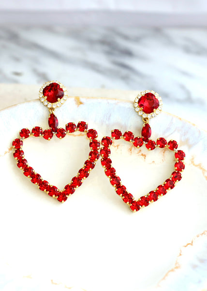 Sweet Heart Red Crystal Swarovski Chandelier Earrings