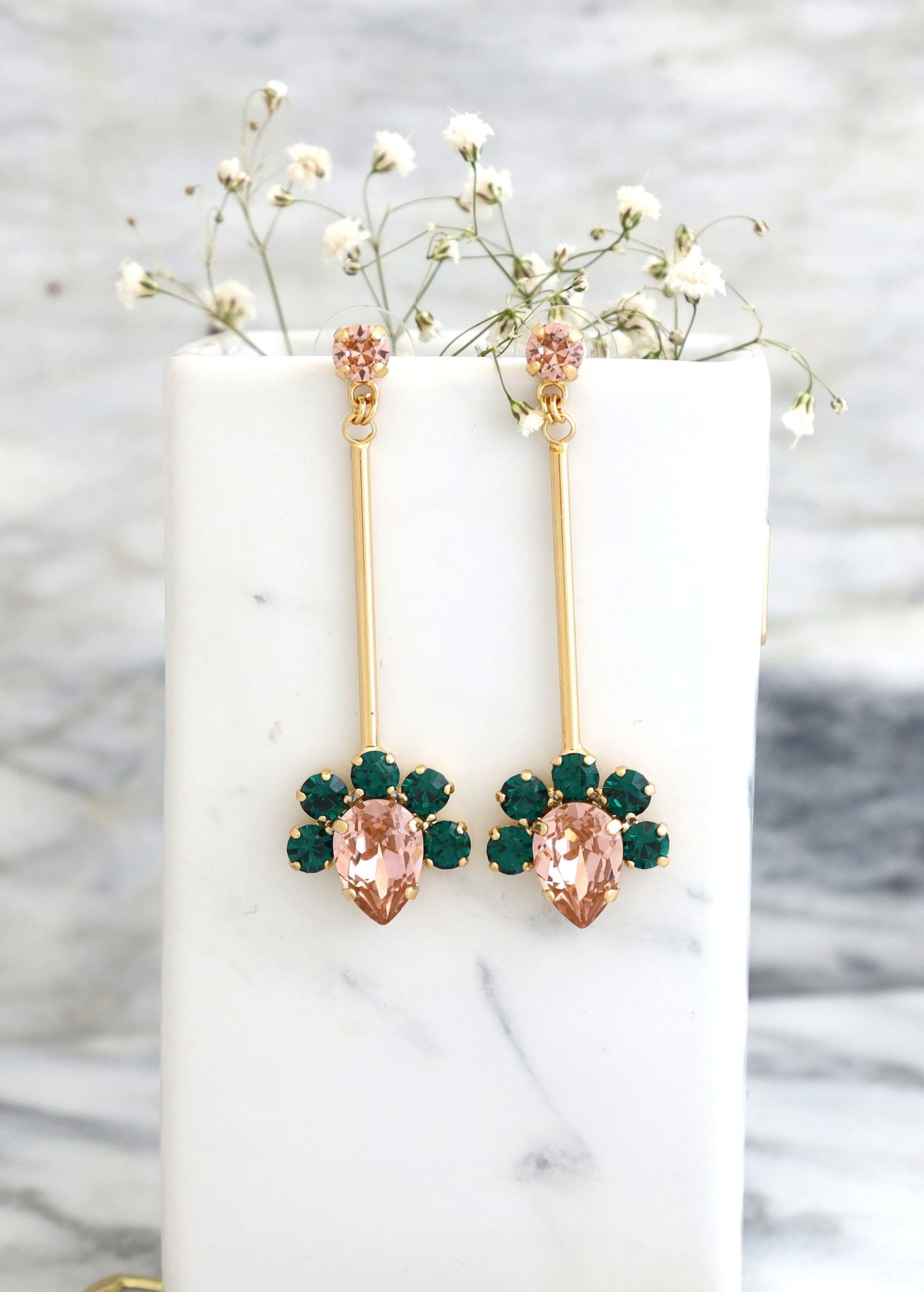 Lili Pink Emerald Crystal Swarovski Dangle Drop Earrings