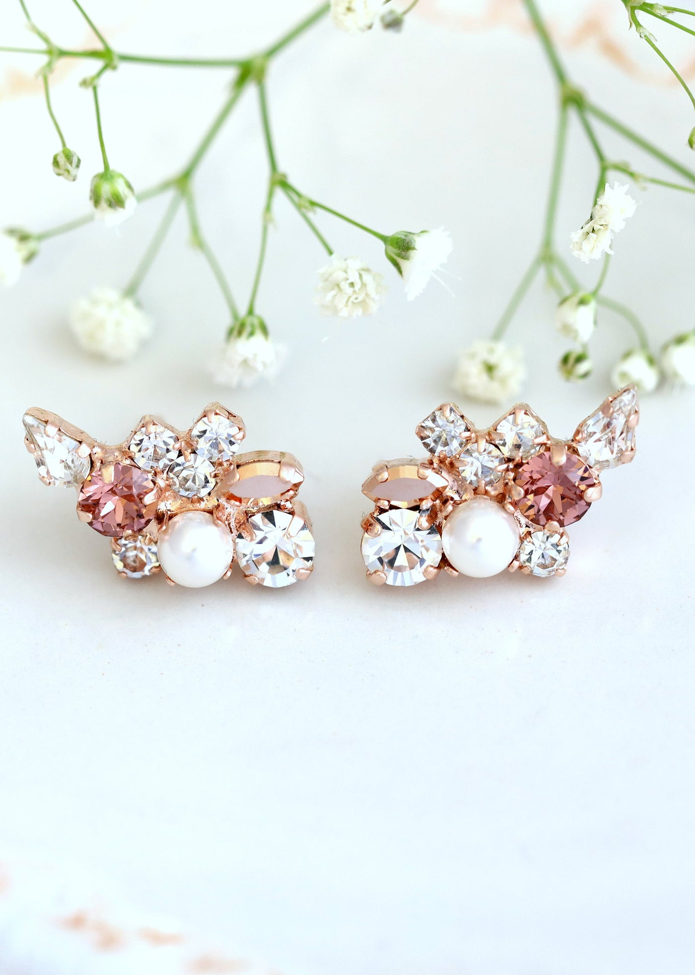 Adele Blush Pearl Crystal Swarovski Cluster Earrings