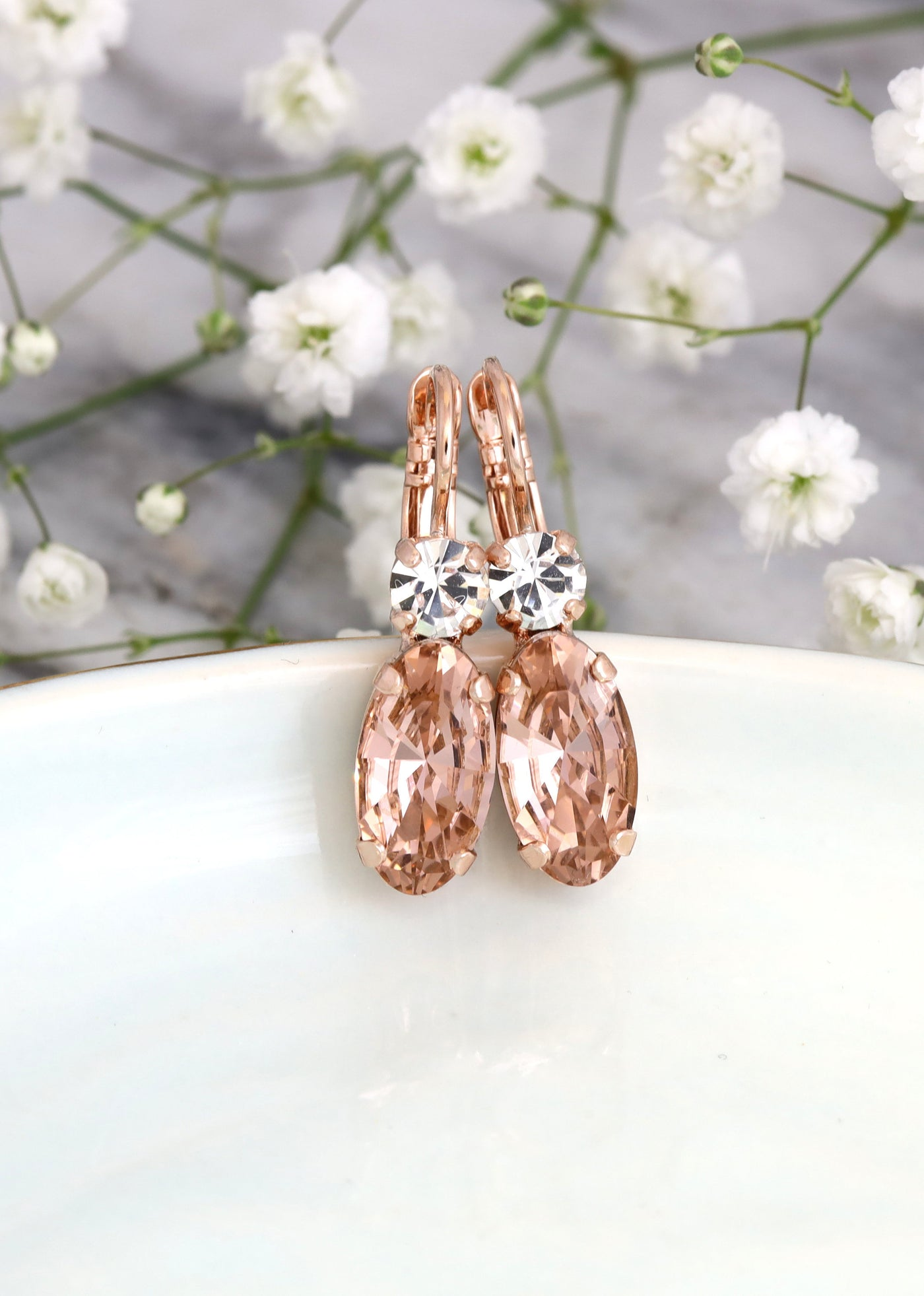 Olivia Blush Crystal Swarovski Dangle Drop Earrings