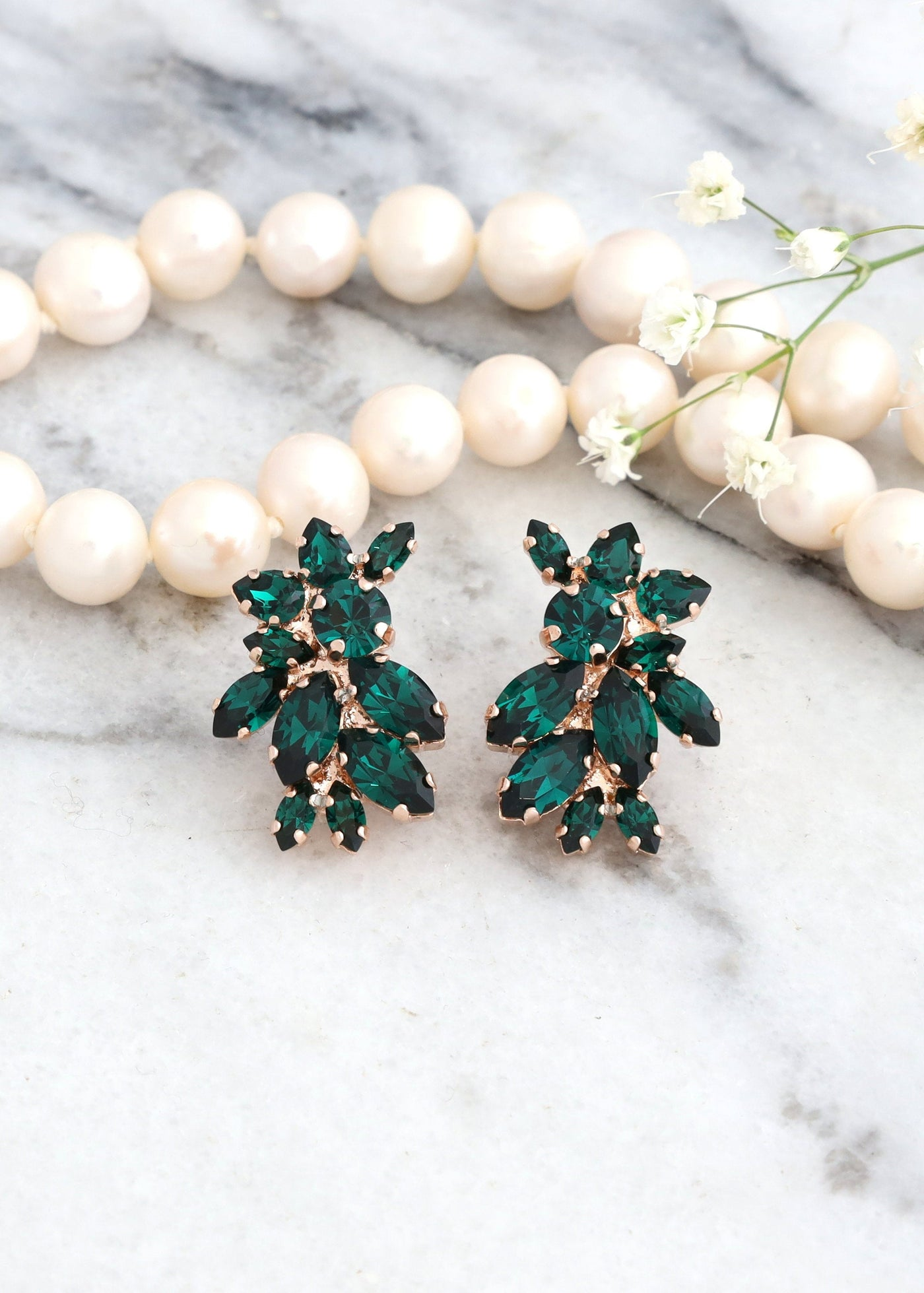 Zoya Emerald Crystal Swarovski Cluster Earrings