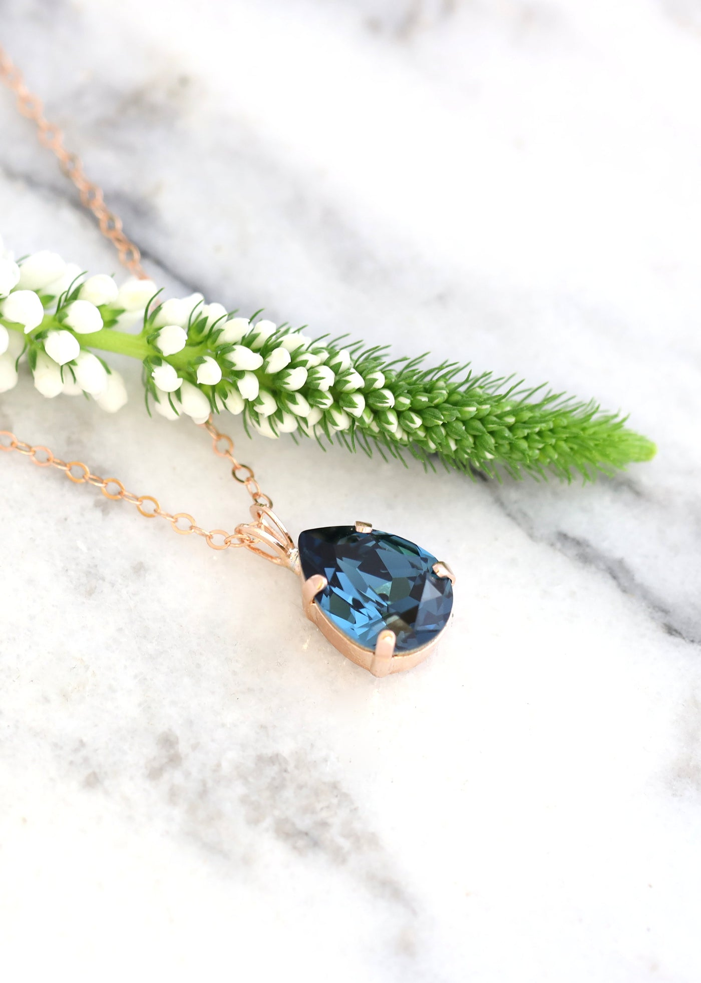 Emma Elegant Blue Navy Crystal Swarovski Necklace