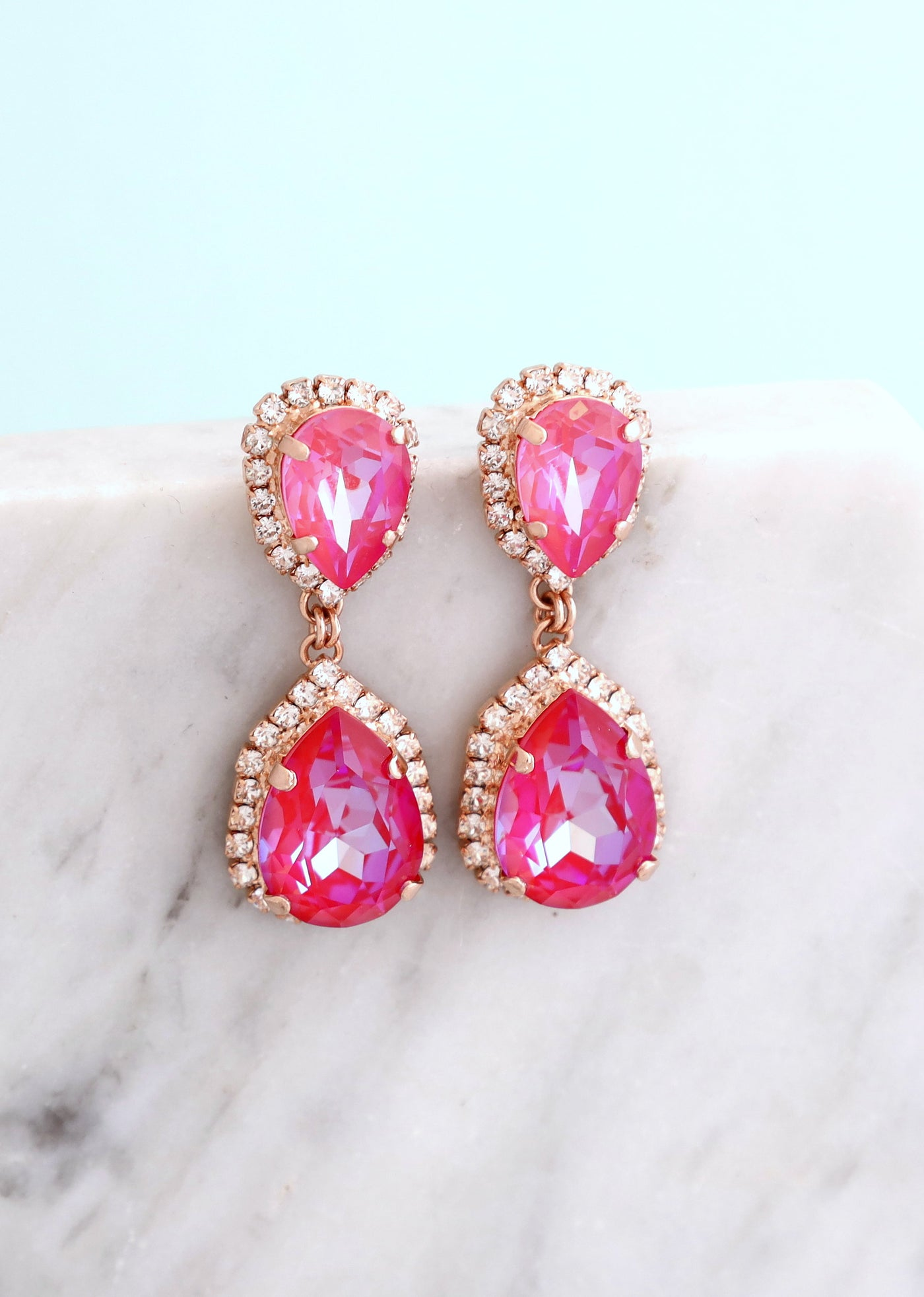 Emma Ultra Pink Crystal Swarovski Chandelier Earrings
