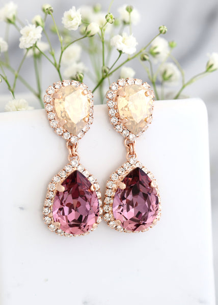 Emma Antique Pink  Crystal Swarovski Chandelier Earrings