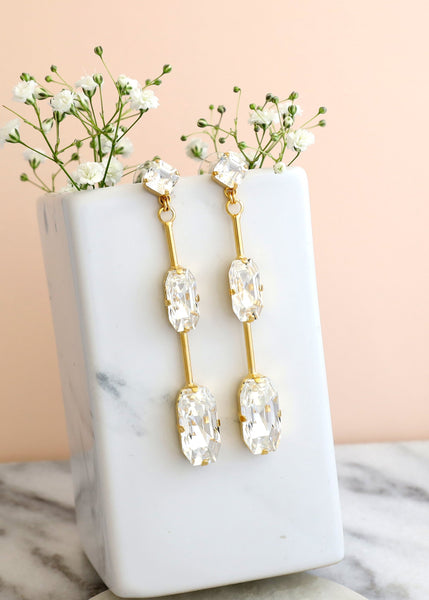 Lisa Clear Crystal Swarovski Long Chandelier Earrings