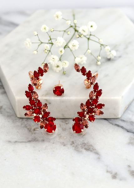 Madelen Red Blush Crystal Swarovski Climbing Earrings