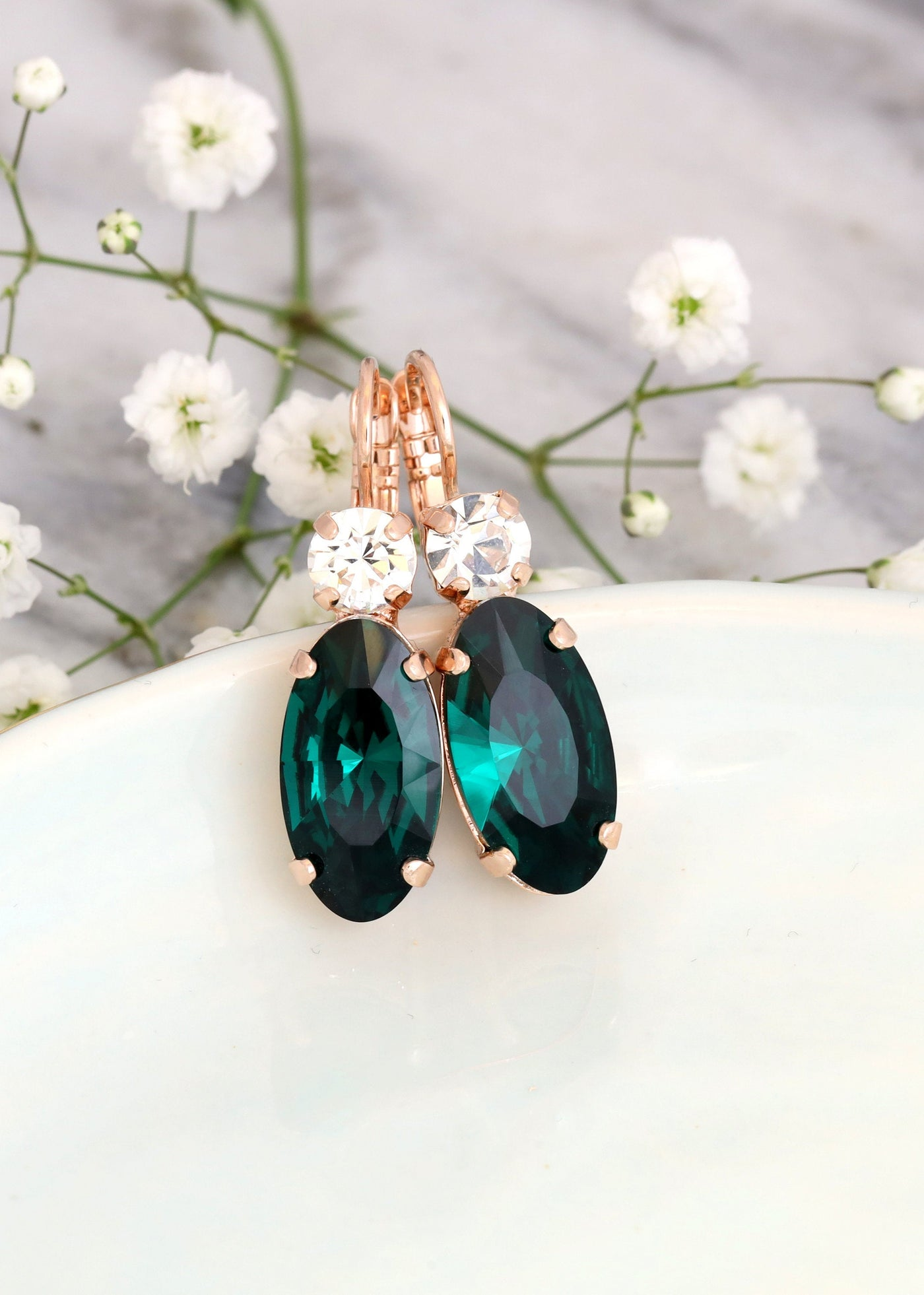 Cindy Emerald Crystal Swarovski Dangle Drop Earrings