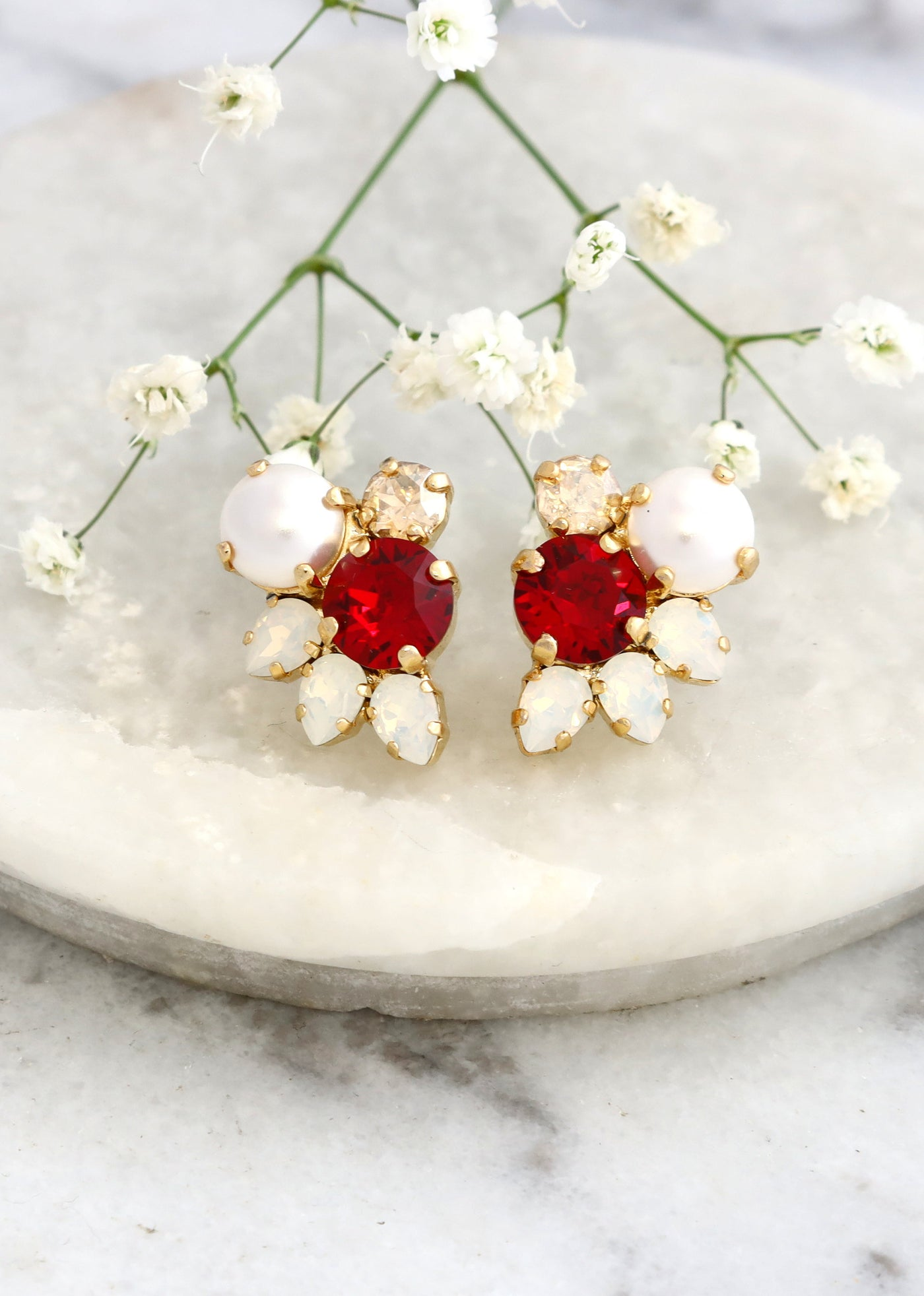 Abby Pearl Red Crystal Swarovski Cluster Earrings