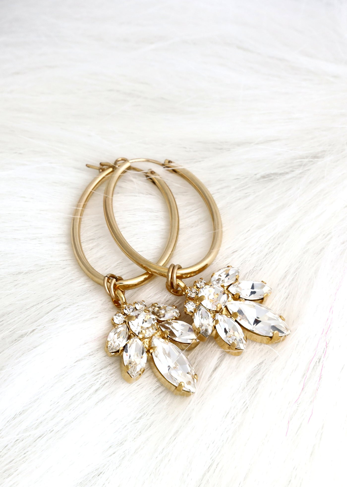 Bridal Hoop Earrings, Gold Hoop Earrings, Bridal Boho chic Earrings, Bridal Long Gold Crystal Earrings, Bridal Swarovski Crystal Earrings