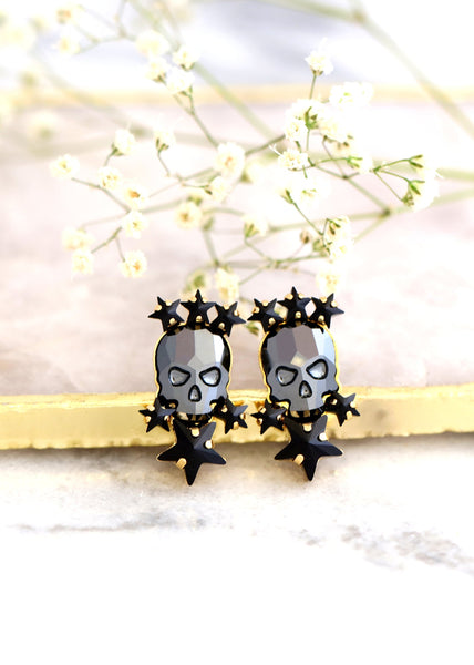 Skull Earrings, Sugar Skull Earrings, Black Skull Stud Earrings, Gothic Bride Jewelry, Skull Bridal Earrings, Gift For Her, Black Earrings