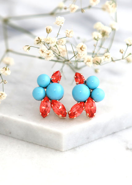 TURQUOISE CORAL EARRINGS, Blue Orange Cluster Crystal Earrings, Turquoise Orange Swarovski Crystal Earrings, Coral Blue Turquoise Jewelry