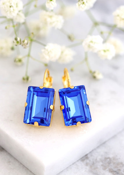 Sapphire Blue Drop Earrings, Bridal Blue Earrings, Royal Blue Crystal Drop Earrings, Bridesmaids Earrings, Step Cut Earrings, Blue Earrings