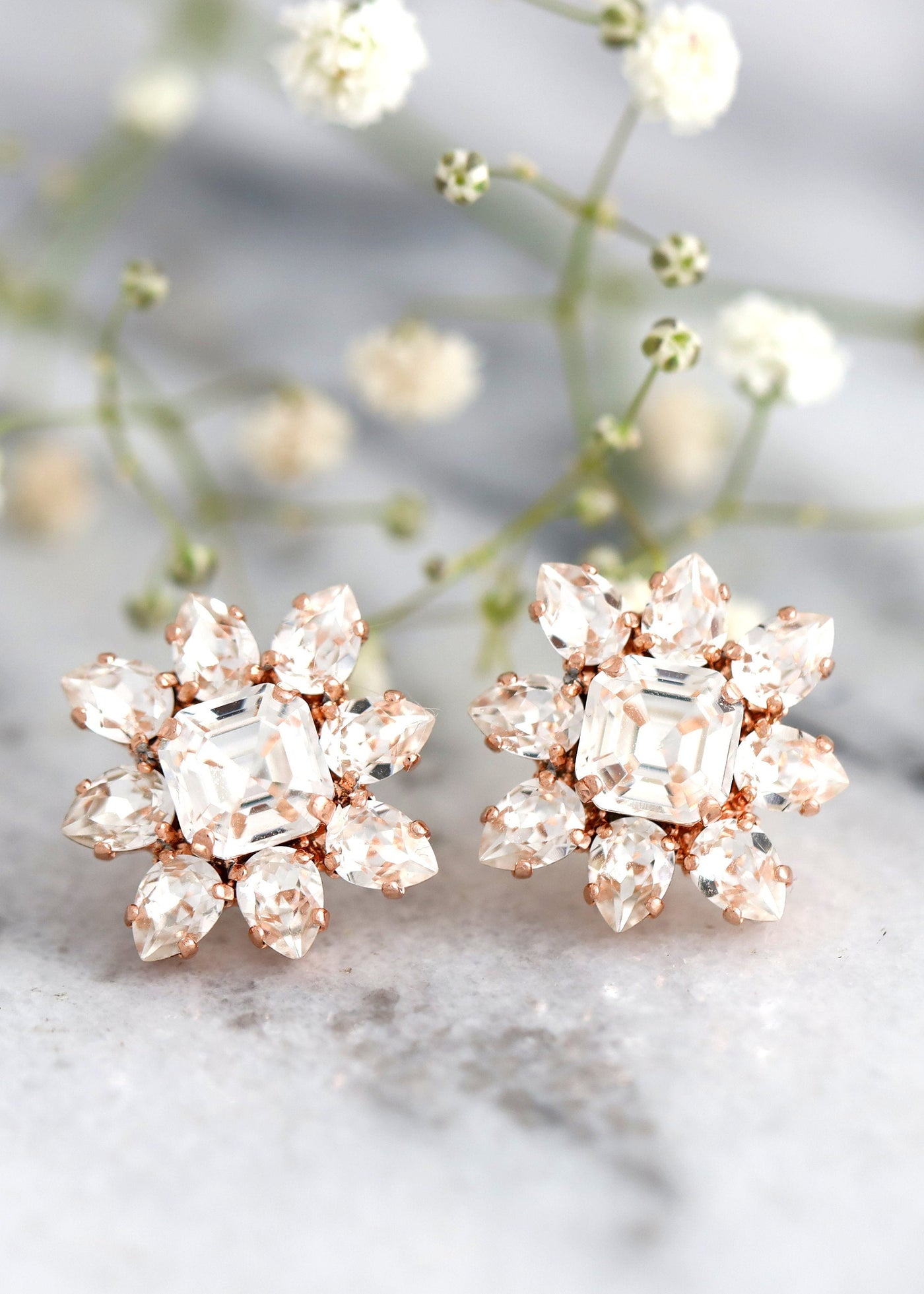 Bridal Earrings, Bridal Cluster Crystal Earrings, Bridal CLASSIC STUD EARRINGS, Bridal Swarovski Crystal Earrings, Bridesmaids Earrings