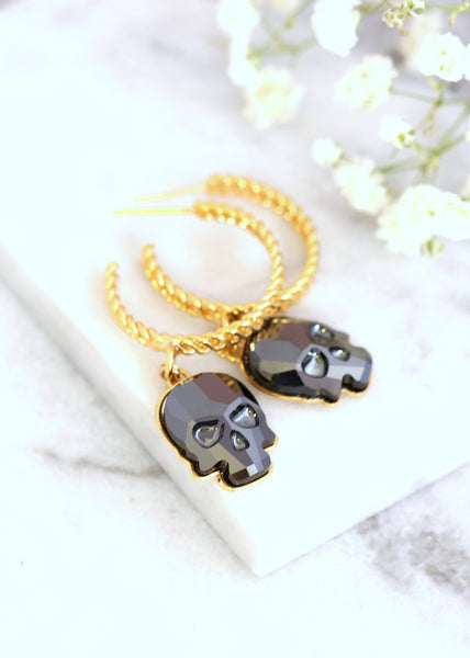 Skull Hoop Earrings, Gold Hoop Earrings, Gothic Hoop Earrings, Gothic Bridal Skull Gold Crystal Earrings, Black Skull Dangle Gold Earrings
