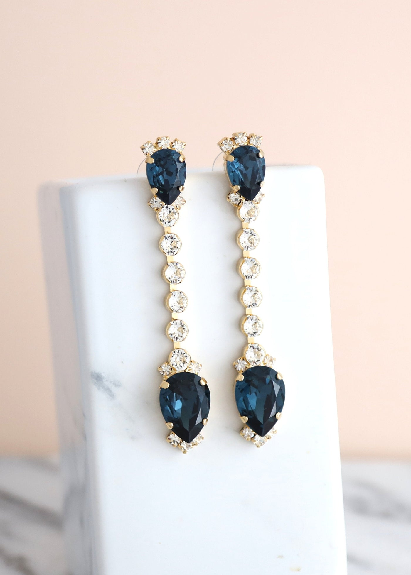 Blue Navy Teardrop Crystal Swarovski Chandelier Earrings