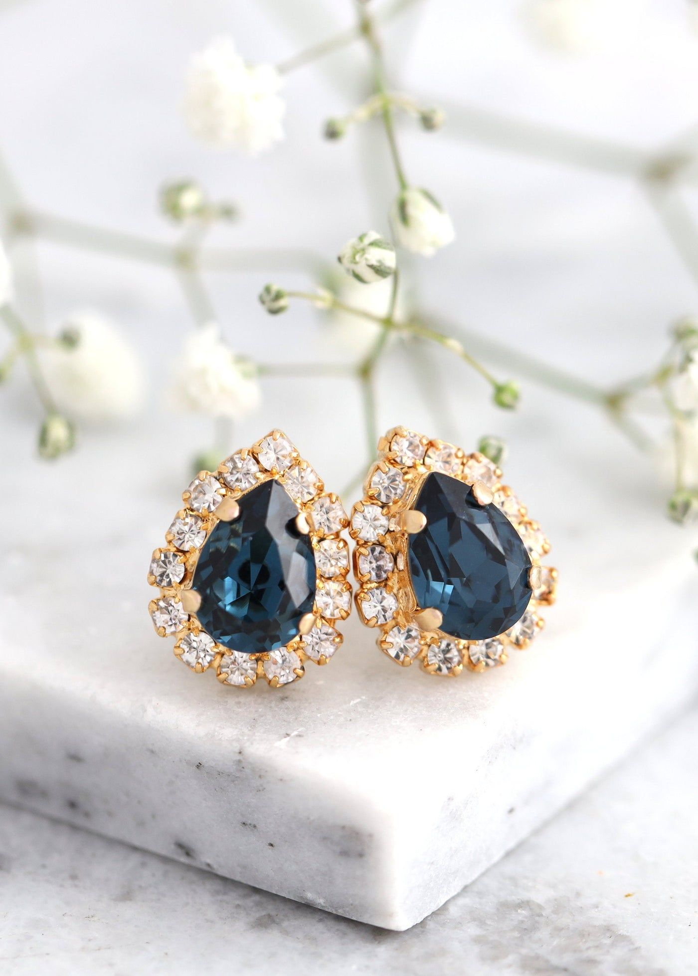 Blue Navy Earrings, Bridal Navy Blue Crystal Stud Earrings, Bridal Dark Blue Swarovski Earrings, Bridesmaids Earrings, Gift For Her
