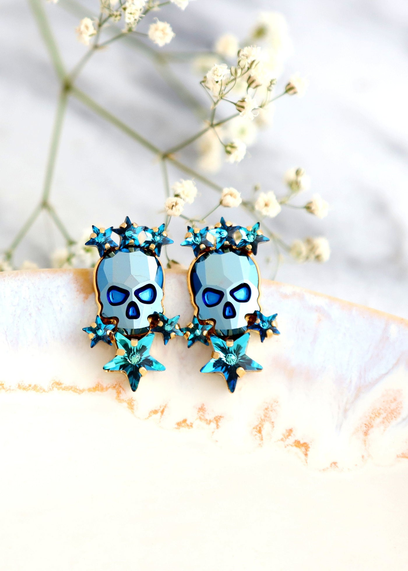 Skull Earrings, Sugar Skull Earrings, Blue Skull Stud Earrings, Gothic Bride Jewelry, Skull Bridal Earrings, Gift For Her, Blue Earrings