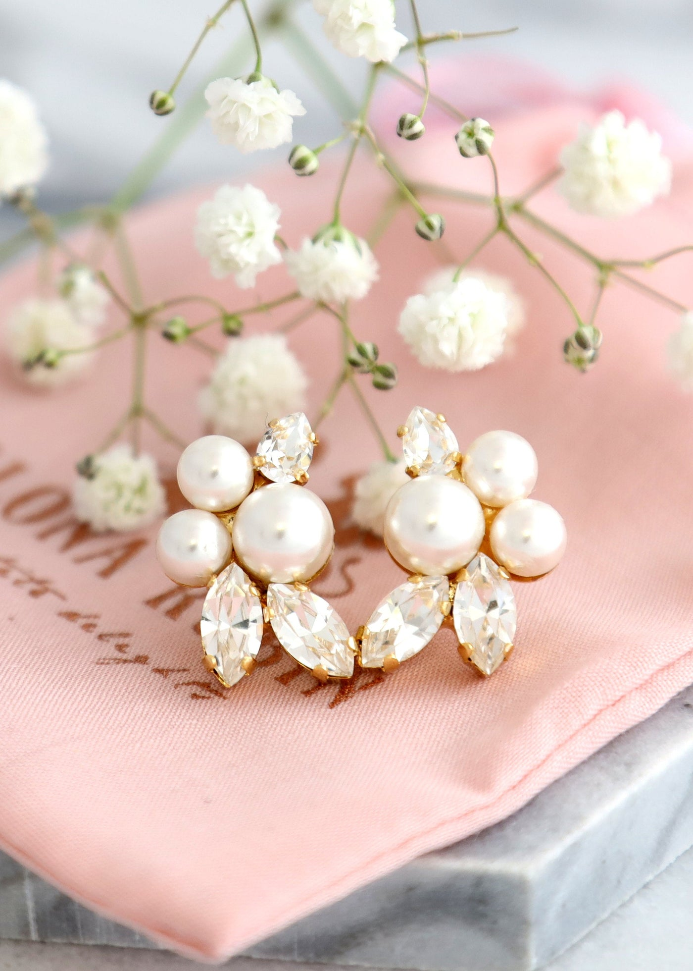 Pearl Earrings, Bridal Pearl Crystal Earrings, Bridal Crystal Earrings, Bridal Climber Pearl Earrings, Bridesmaids Earrings, Bridal Earrings