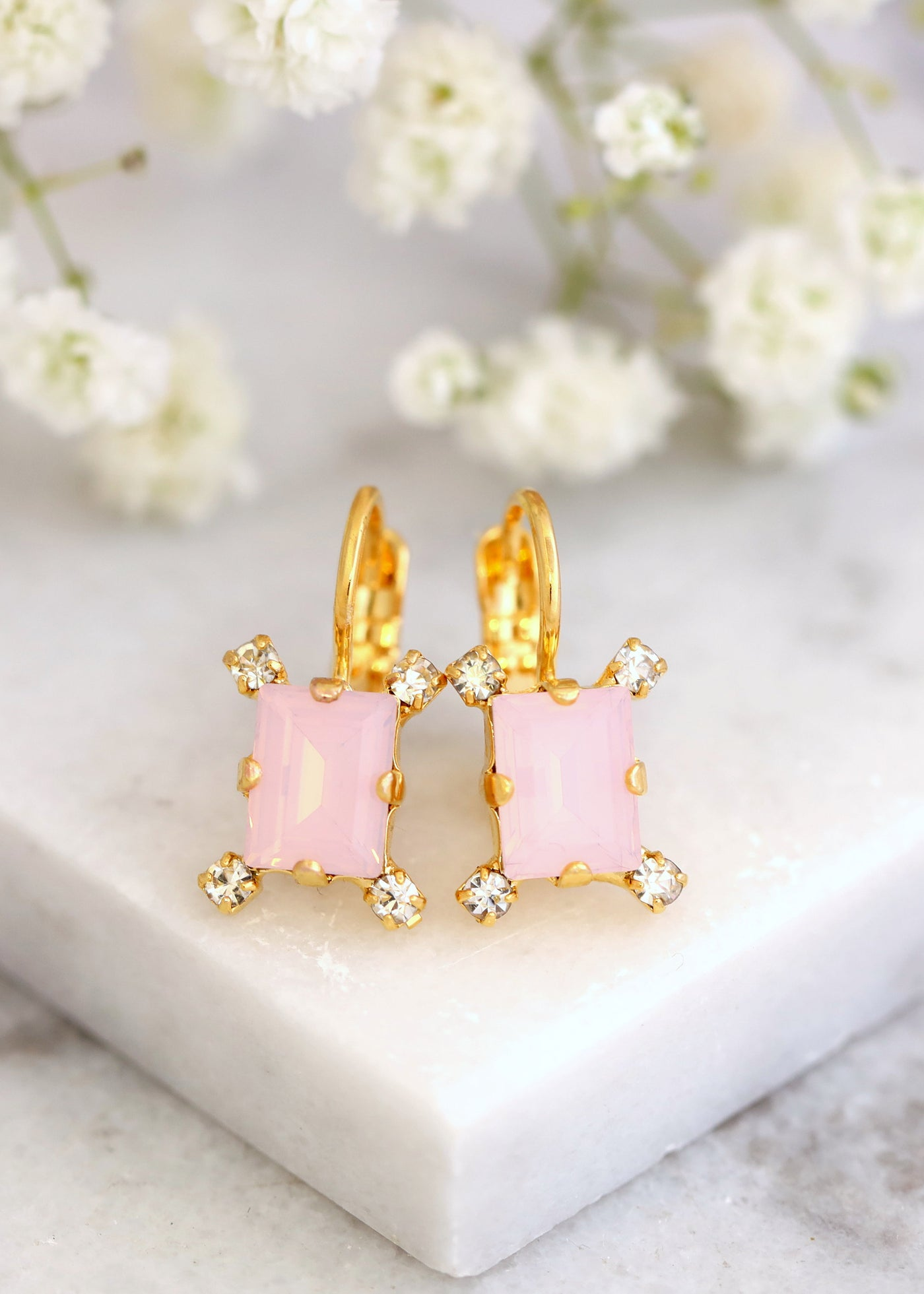 Pink Drop Earrings, Light Pink Crystal Earrings, Gift for her, Gift For Her, Pink Opal Earrings, Powder Pink Drop Swarovski Bridal Earrings