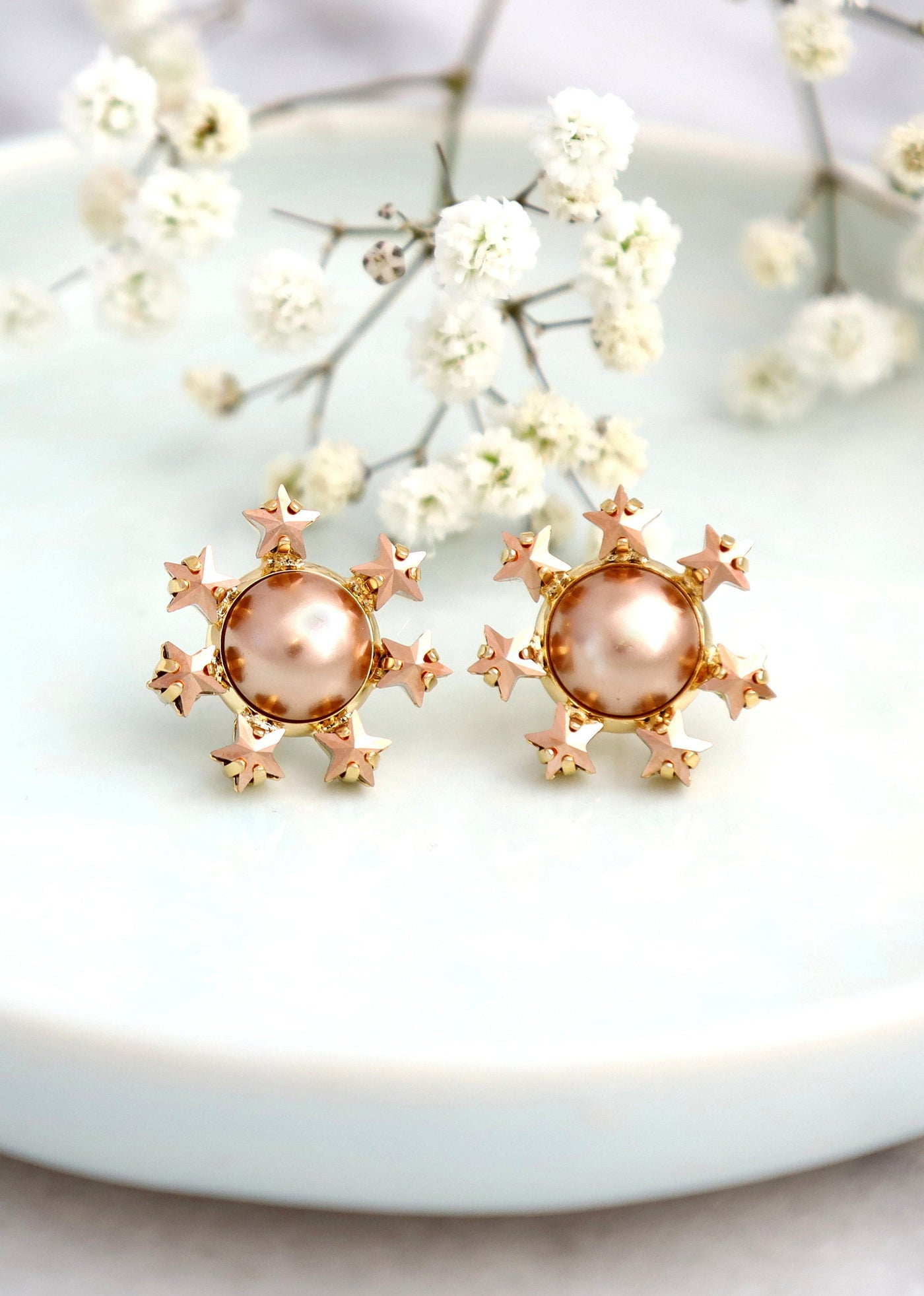 Star Earrings, Rose Cream Pearl Earrings, Pearls Stud Crystal Earrings, Stars And Celestial Earrings, Bridesmaids Studs, Gold Star Earrings