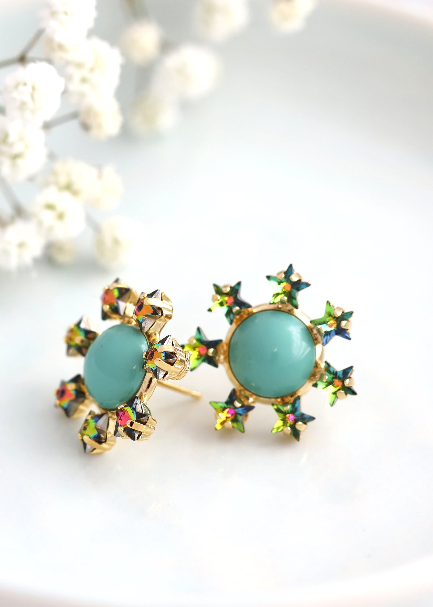 Star Earrings, Turquoise Stud Earrings, Turquoise Crystal  Earrings, Stars And Celestial Earrings, Bridesmaids Studs, Gold Star Earrings