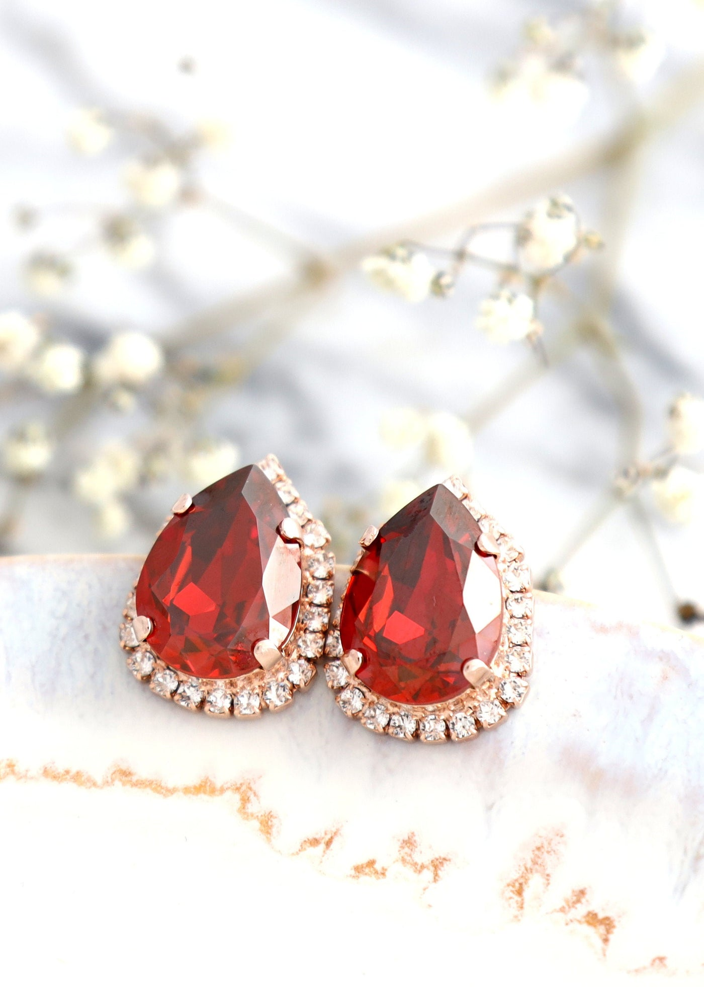 RED EARRINGS, Bridal Ruby Crystal Earrings, Teardrop Red Swarovski Crystal Earrings, RARE Red Magma Earrings, Bridesmaids Red Earrings