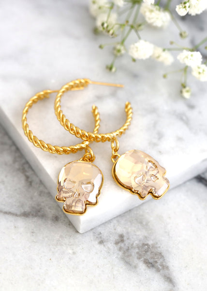 Skull Hoop Earrings, Gold Hoop Earrings, Gothic Bride Earrings, Skull Gold Crystal Earrings, Gold Skull Dangle Gold Earrings, Gothic Jewelry