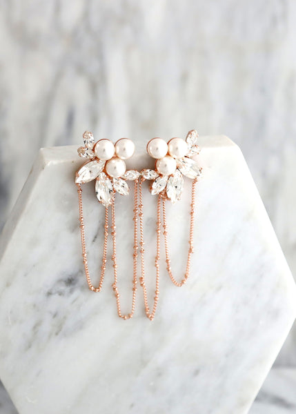 Pearl Earrings, Bridal Pearl Earrings, Statement Pearl Gold Long Earrings, White Pearl Bridal Chandelier Earrings, Statement Pearl Earrings