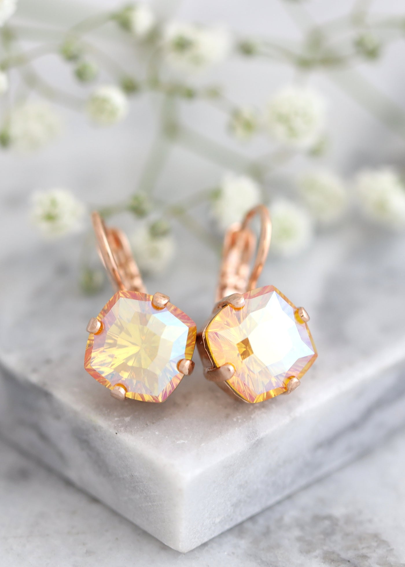 Peach Gold Earrings, Orange Drop Crystal Earrings, Bridal Orange Crystal Drop Earrings, Orange Gold Crystal Earrings, Bridesmaids Earrings