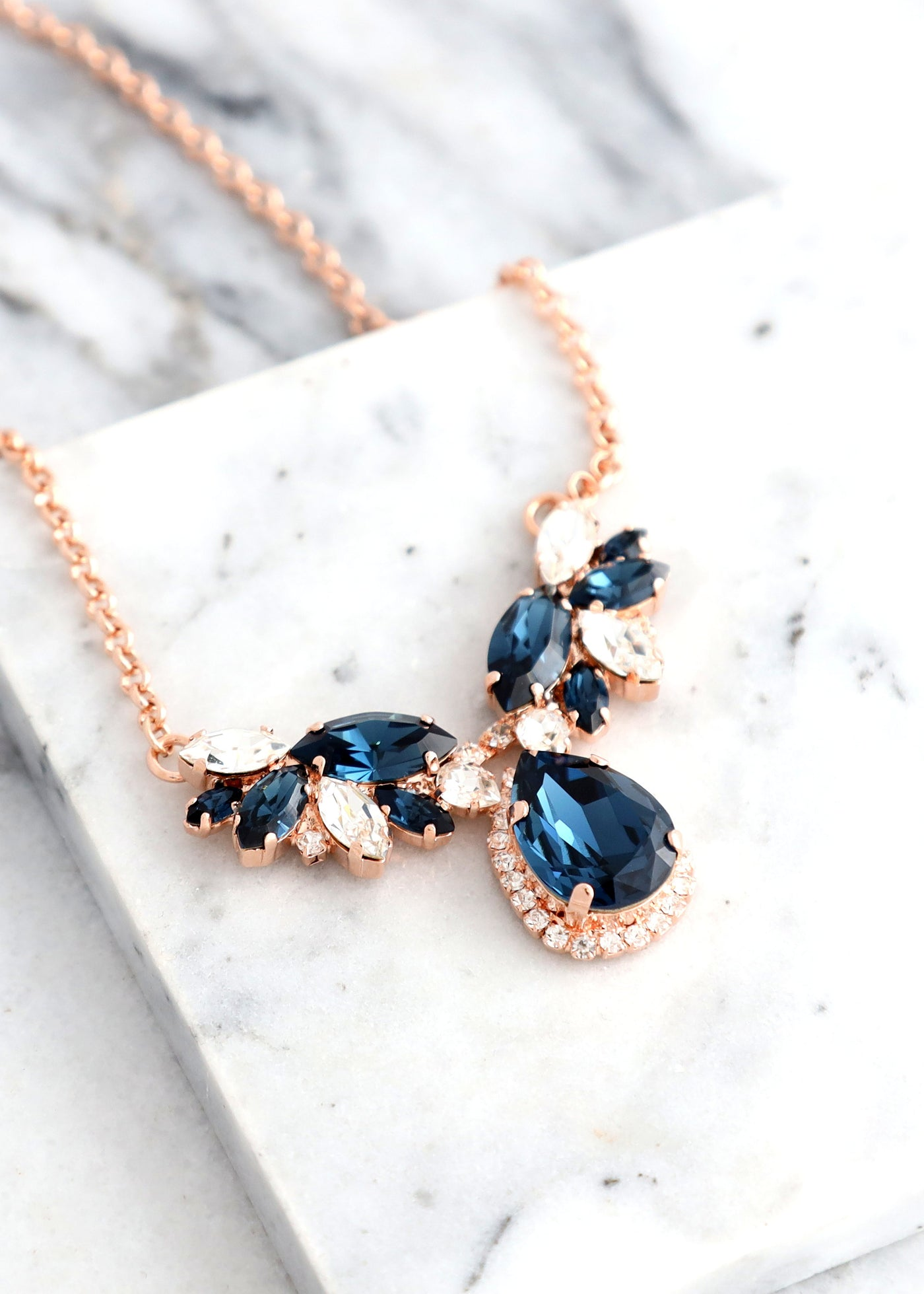 BLUE NAVY Necklace, Bridal Blue Navy Crystal Swarovski Necklace