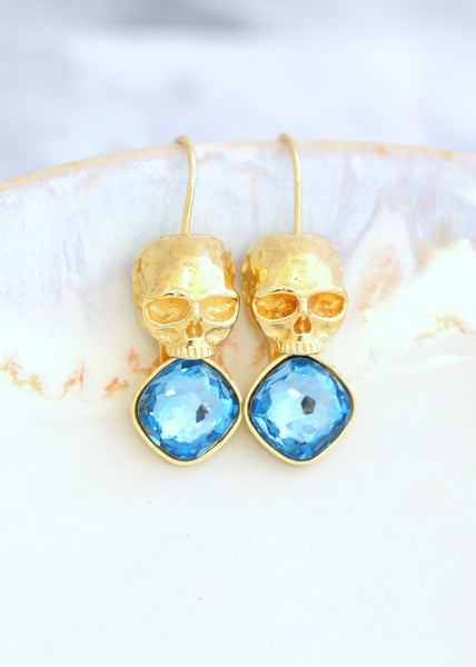 Skull Earrings, Blue Drop Earrings, Sugar Skull Gold Earrings, Gothic Wedding Earrings, Aquamarine Crystal Earrings, Skull Gold Earrings