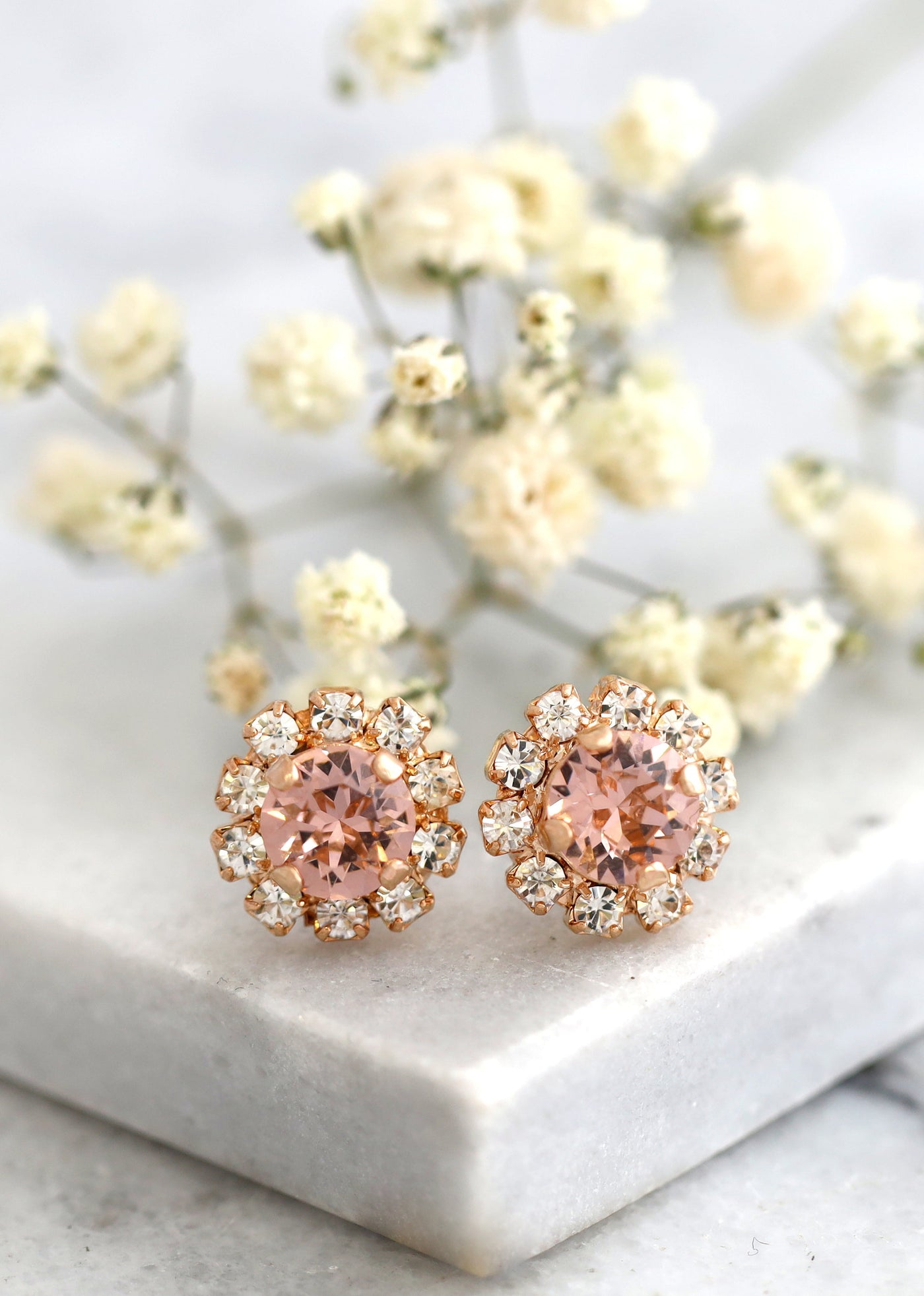 Bridal Blush Crystal Stud Earrings, Blush Stud Earrings, Flower girl Blush Earrings, Flower Girl Crystal Earrings, Bridesmaids Earrings