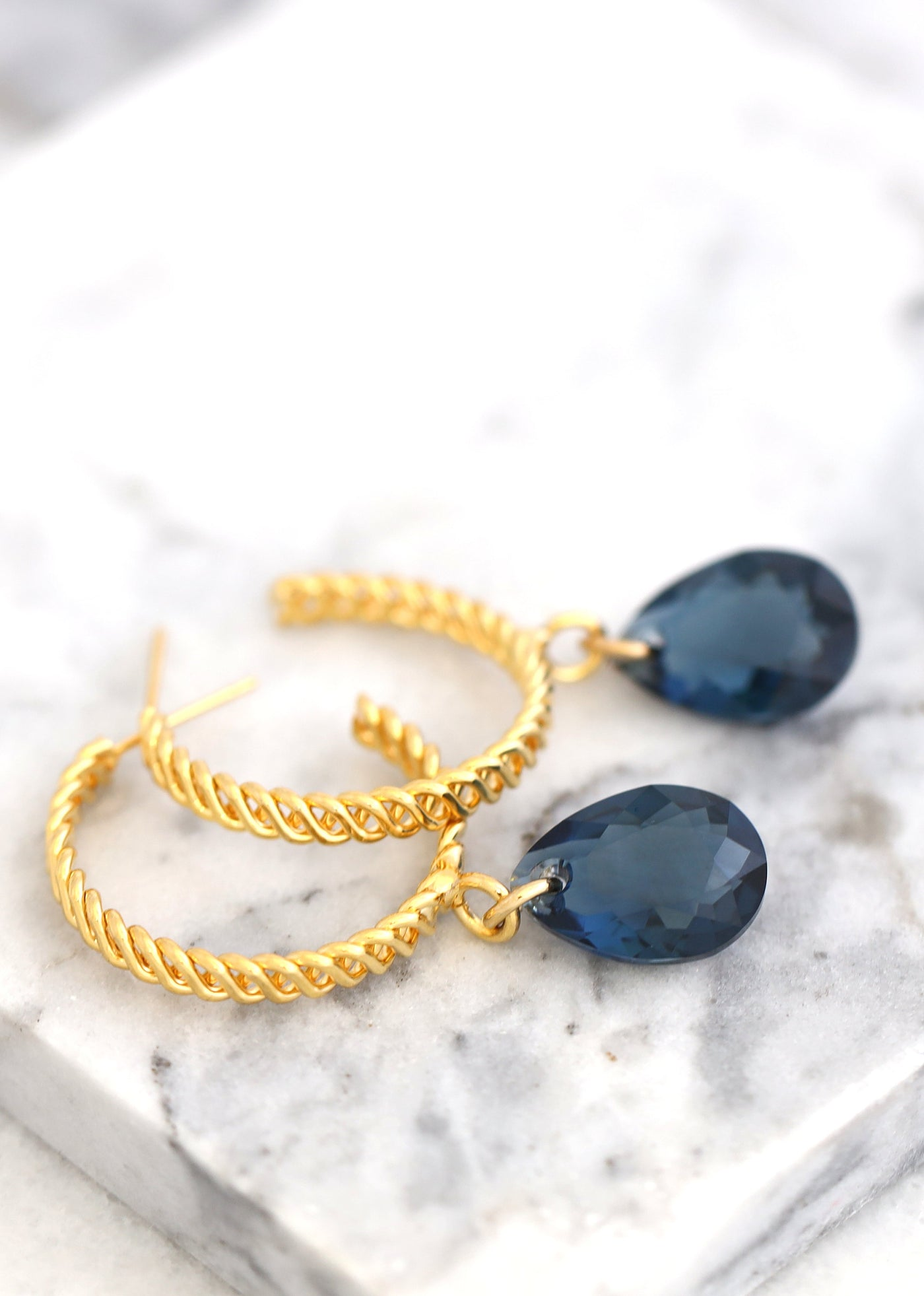 Navy Blue Earrings, Blue Gold Hoop Earrings, Bridal Blue Hoop Earrings, Gold Hoop Crystal Earrings, Dark Blue Dangle Silver Earrings