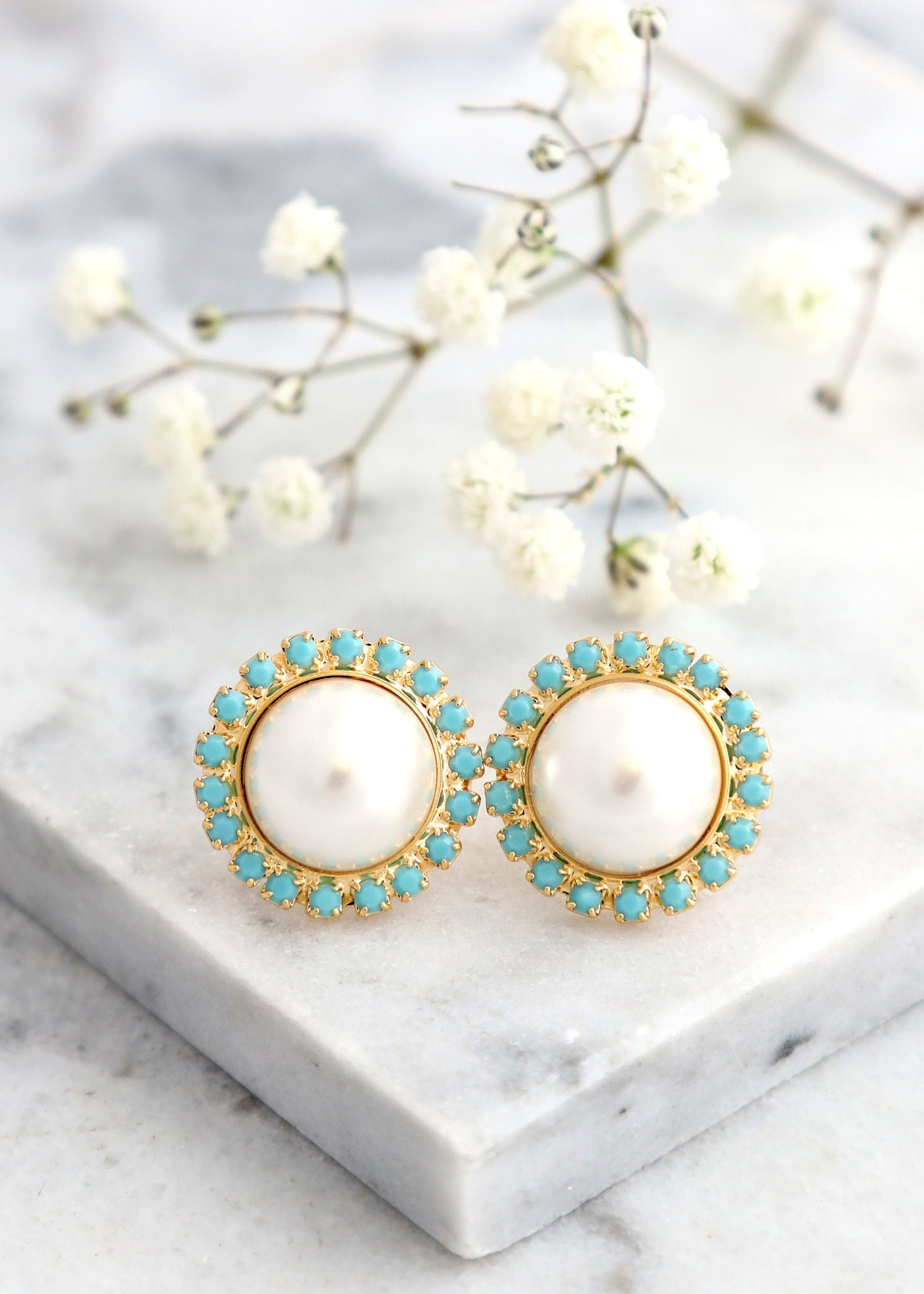 Pearl Earrings, Pearl Turquoise Stud Earrings, Gift For Her, Bridesmaids Earrings, Bridal Pearl Earrings, Bridal Swarovski Turquoise Studs