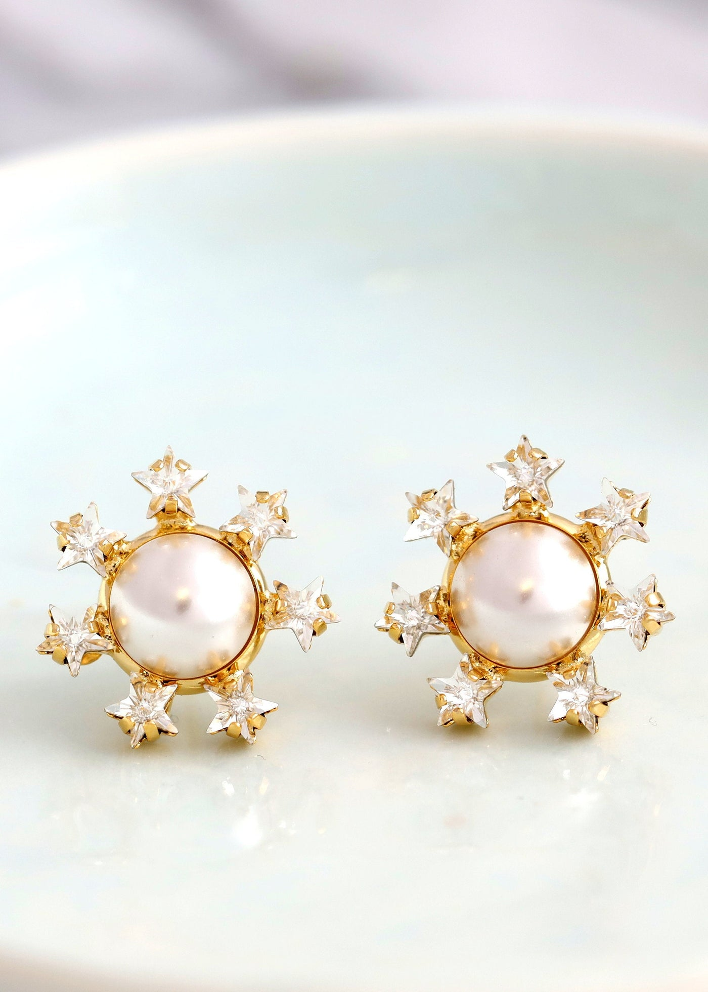 Star Earrings, Pearl Stud Earrings, Bridal Pearls Stud Crystal Earrings, Stars And Celestial Earrings, Bridesmaids Studs, Gold Star Earrings