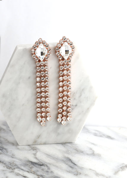 Statement Earrings, LONG CHANDELIER EARRINGS, Long Swarovski Crystal Earrings, Bridal Chandelier Earrings, Bridal Chandelier Earrings