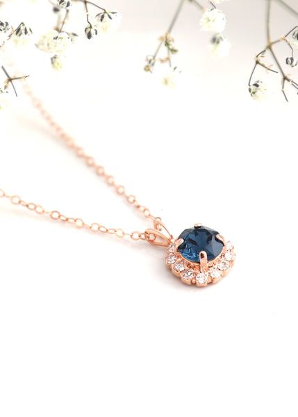 Blue Navy Necklace, Navy Blue Crystal Necklace, Gift For Her, Dark Blue Swarovski Crystal Gold Necklace, Blue Crystal Silver Necklace