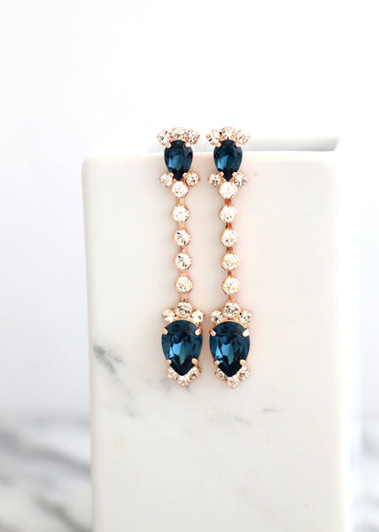Blue Navy LONG  Earrings, Navy Blue  Bridal Drop Earrings, Bridal Sapphire Earrings, Swarovski Blue Chandelier Earrings, Sapphire Earrings