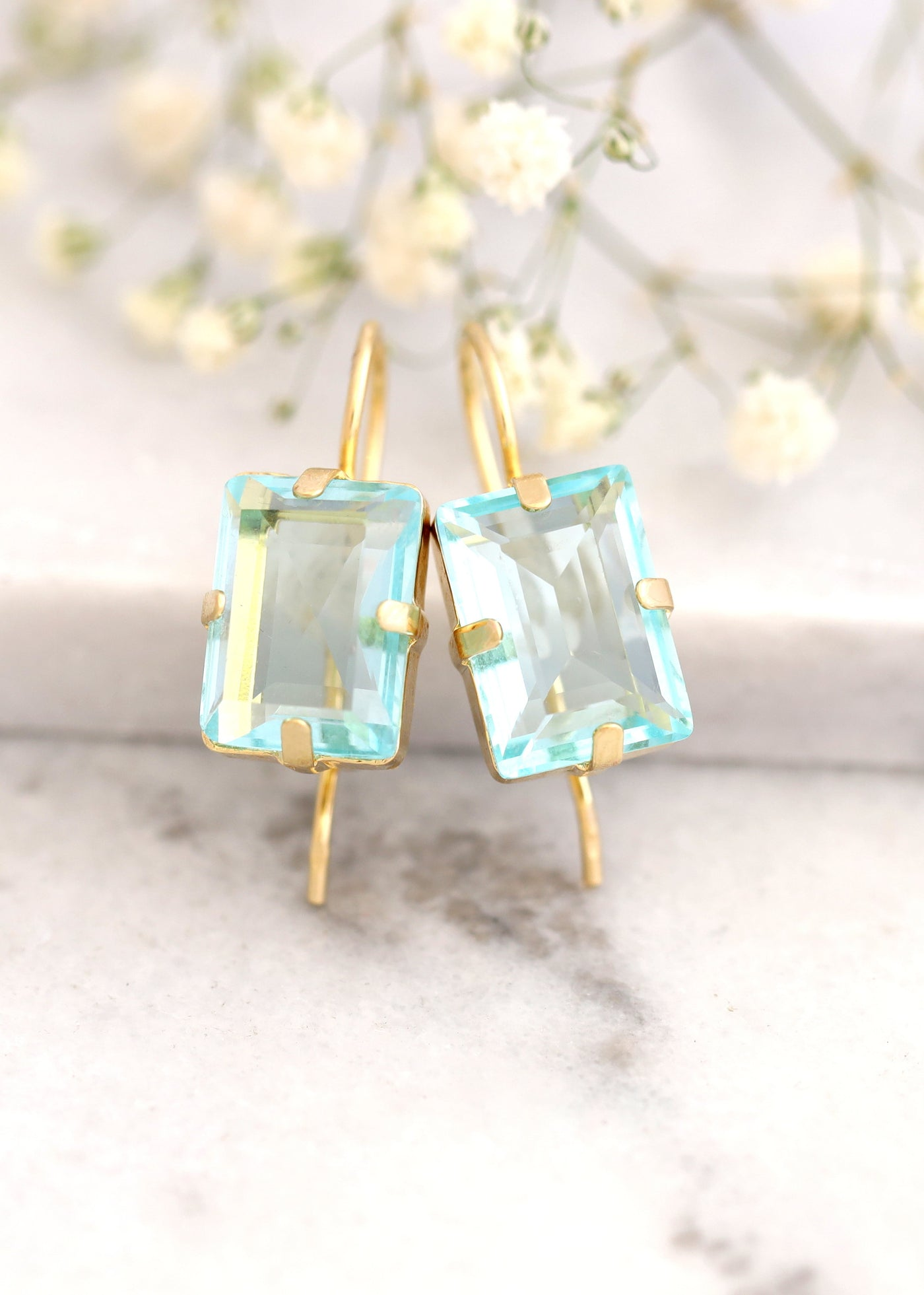 Aquamarine Earrings, Aquamarine Drop Earrings, Bridal Blue Drop Earrings, Emerald cut Crystal Earrings, Bridesmaids Earrings, Gift For Her