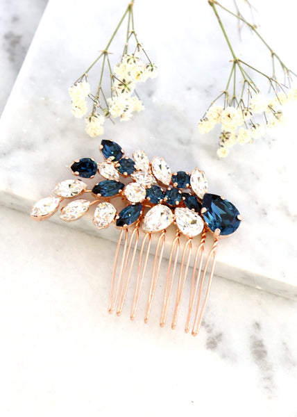 Bridal Hair Comb, Swarovski Blue Navy Hair Comb, Blue Navy Hair Comb, Bridal Hair Accessories, Blue Hair Comb, Bridal Swarovski Hair Comb