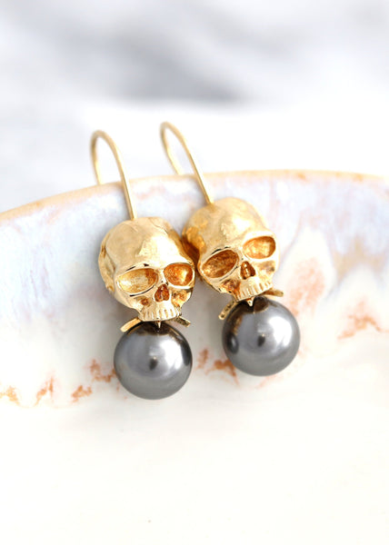 Skull Earrings, Gothic Bride Earrings, Skull Drop Earrings, Sugar Skull Earrings, Gothic Wedding Earrings, Gray Pearl Gold Drop Earrings.