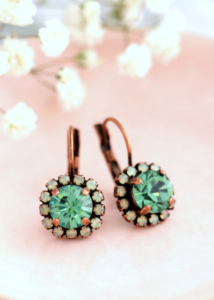 Peridot Green Earrings, Green Crystal Drop Earrings, Bridesmaids Earrings, Green Swarovski Drop Earrings, Bridal Peridot Green Earrings