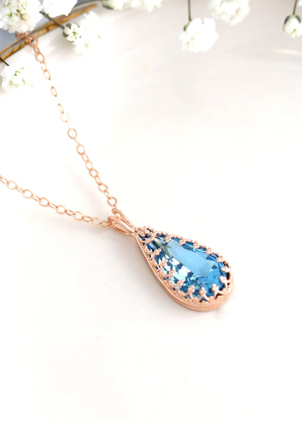 Lacy Aquamarine Necklace, Bridal Blue Crystal Swarovski Necklace,