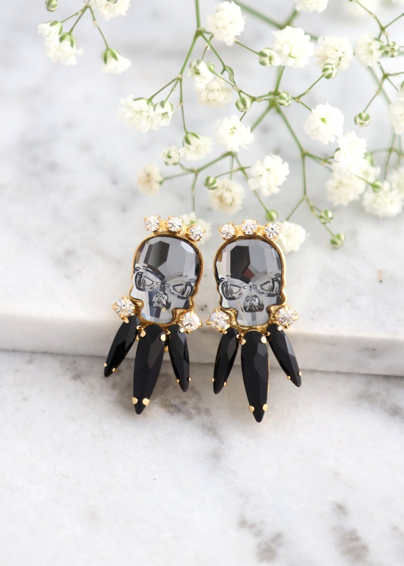 Black Skull Earrings, Skull Earrings, Sugar Skull Earrings, Rock N Roll Bride Earrings, Gift For Her, Gothic Bride Jewelry, Crystal Earrings