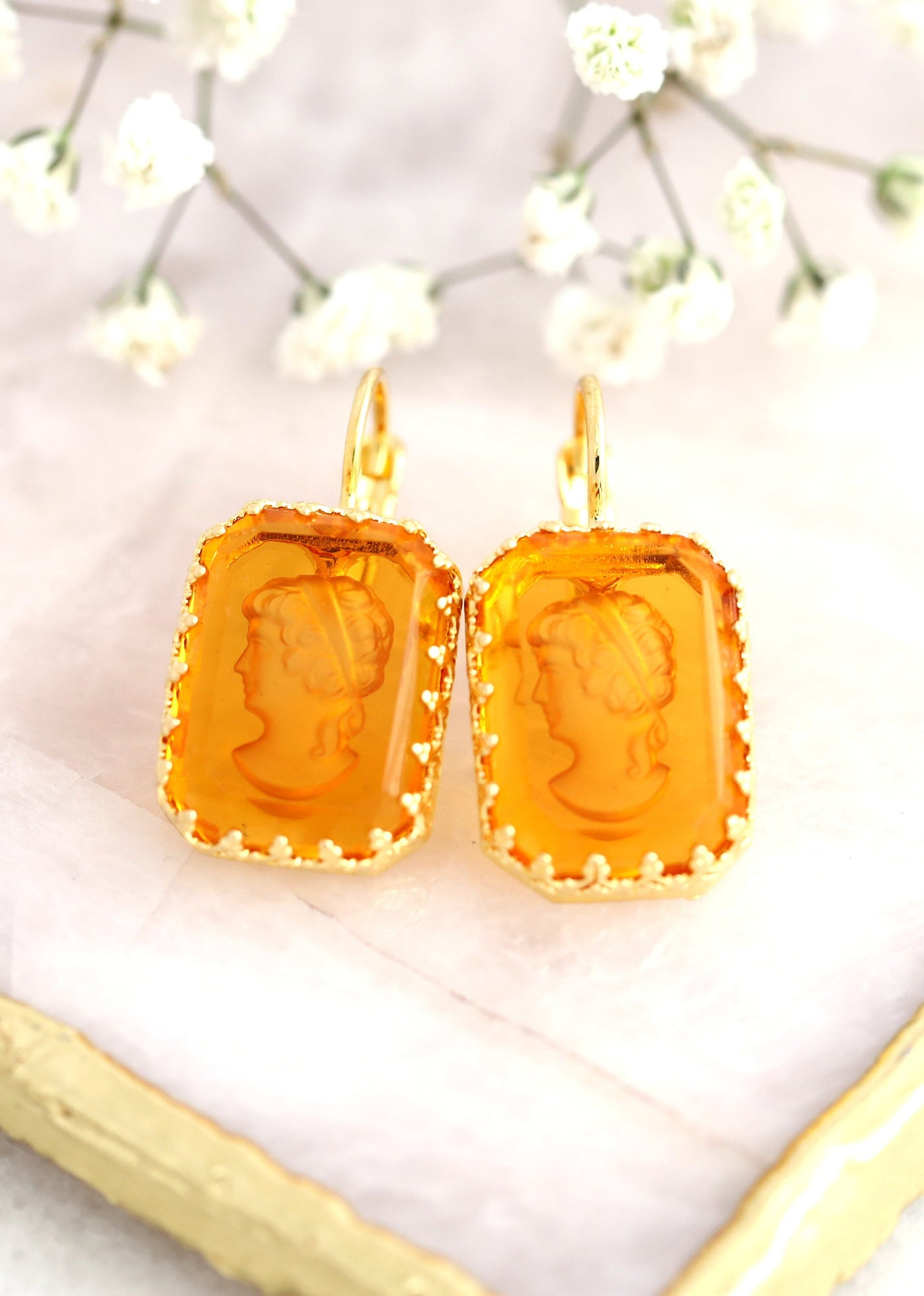 Cameo Earrings, Amber Vintage Crystal Earrings, Bridal Drop Crystal Earrings, Crystal Cameo Earrings, Gift For Her, Victorian Drop Earrings