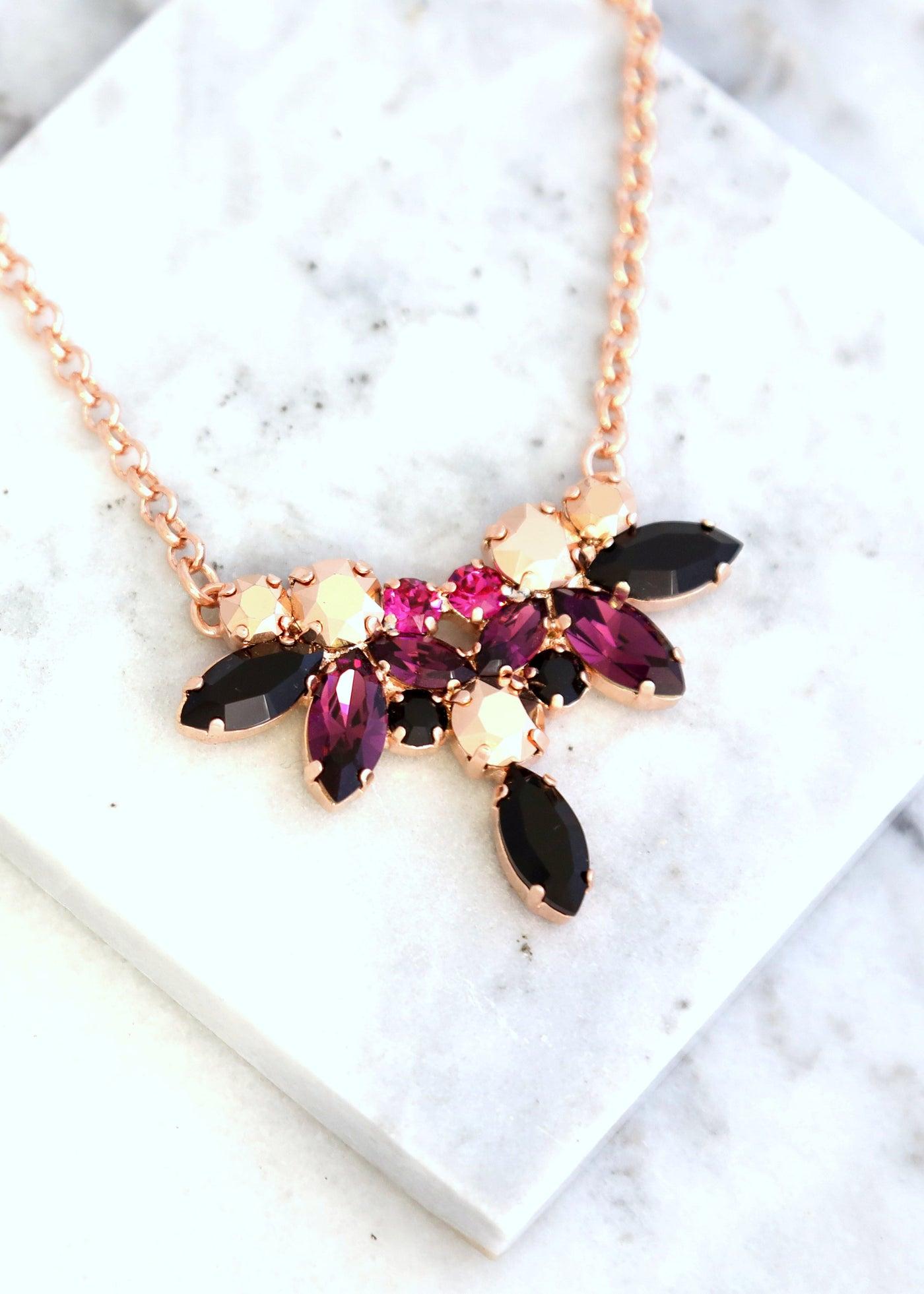 Purple Black Necklace, Bridal Purple Black Necklace, Purple Black Crystal Swarovski Necklace, Dark Purple Gold Necklace, Crystal Necklace