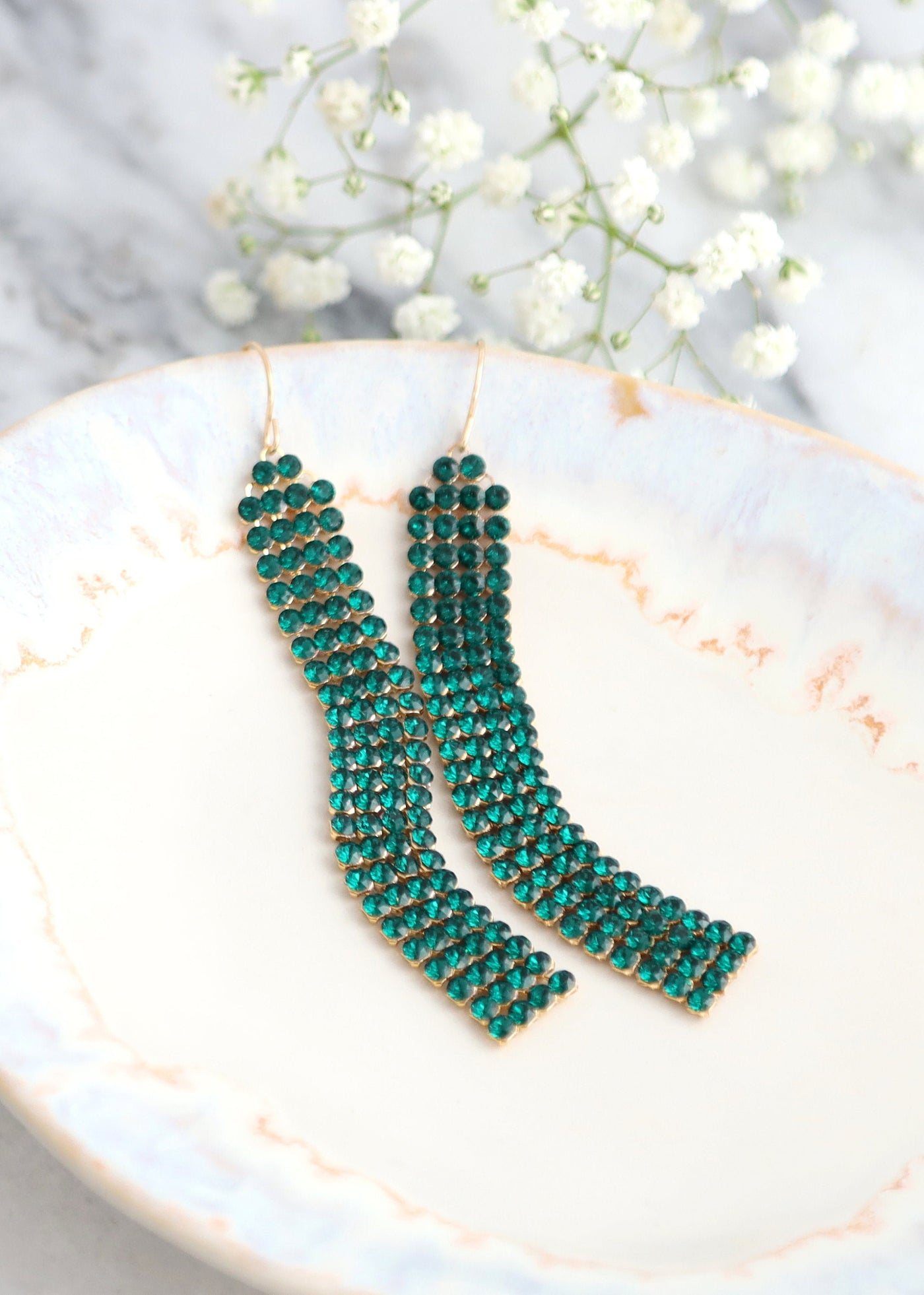 Emerald Long Earrings, Emerald Green Dangle Earrings, Green Mash Crystal Earrings, Bridal Crystal Swarovski Earrings, Emerald Gold Earrings